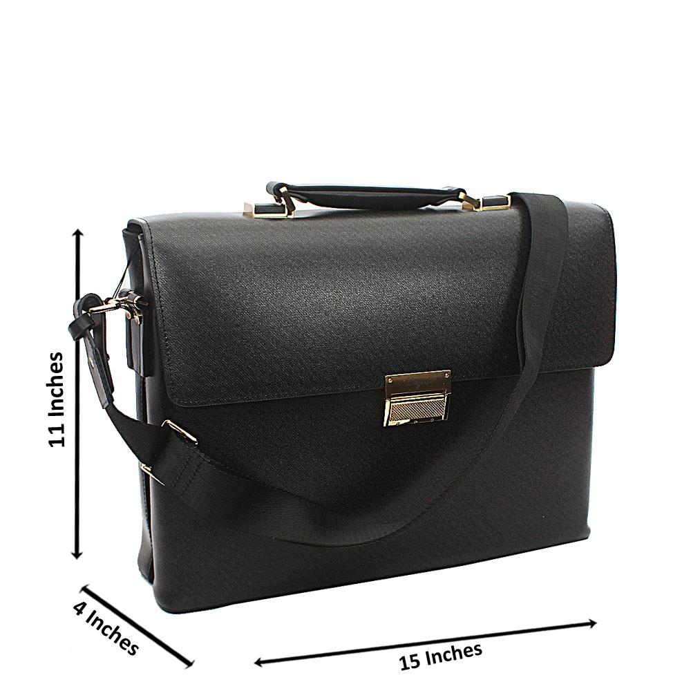 Black Smooth Patterned Cowhide Leather Briefcase wt Front Lock