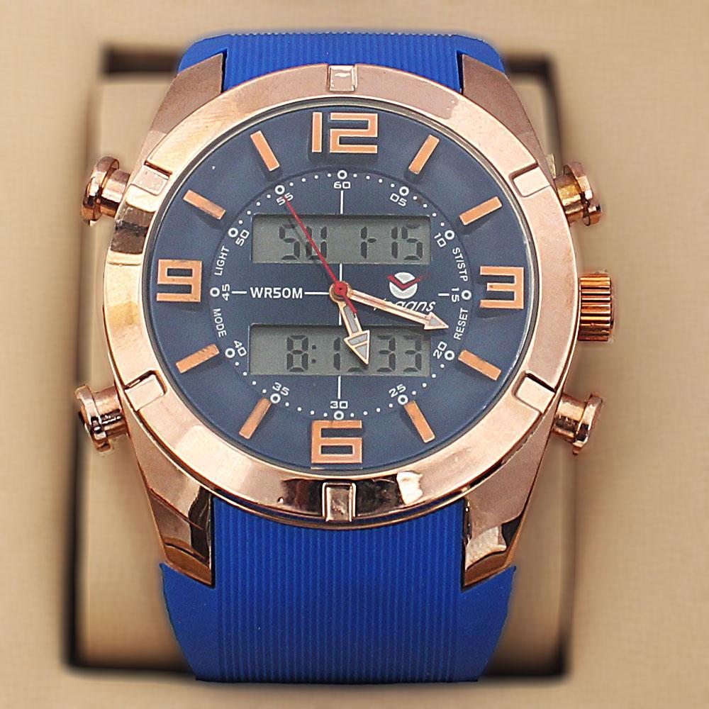 Vegans Blue Gold Rubber 5 ATM Water Resistant Analog Digital Watch