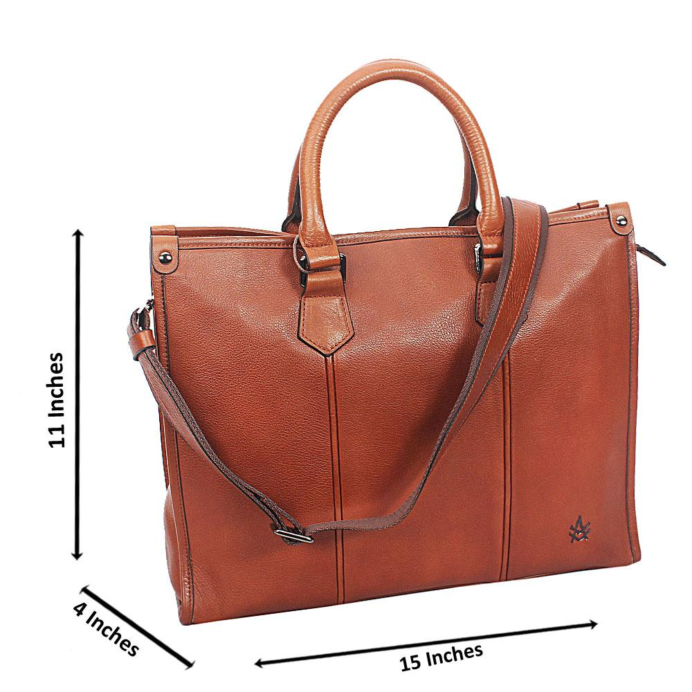 Brown Kurtz Smooth Grain Leather Tote Man Bag