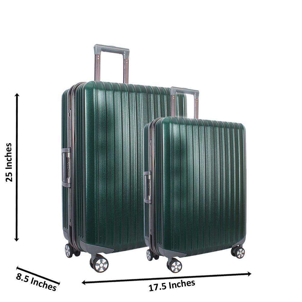 Green 25 inch Wt 20 inch 2 in 1 Hardshell Luggage Set Wt TSA Lock