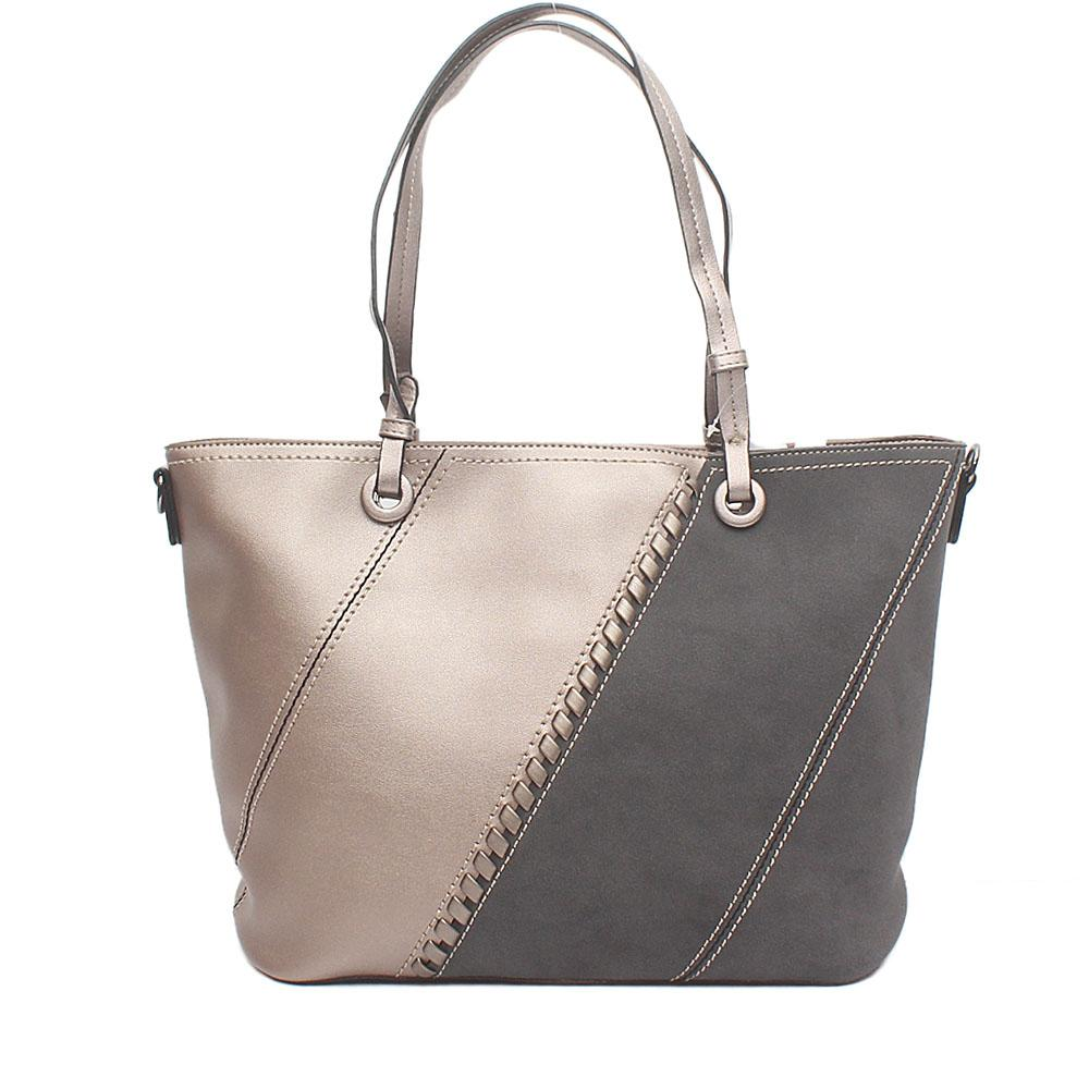 London Style Grey Bronze Suede Leather Tote Bag