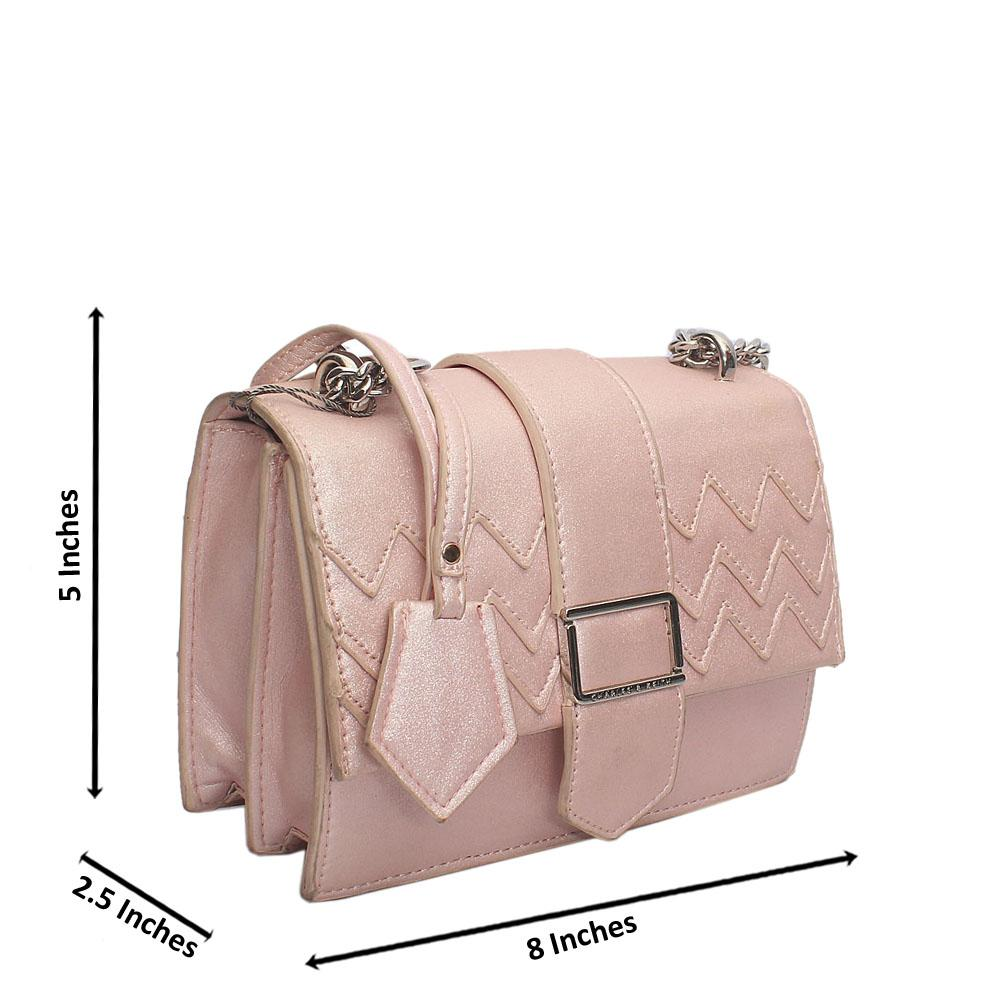 Pink Leather Bag Wt Minor Stains