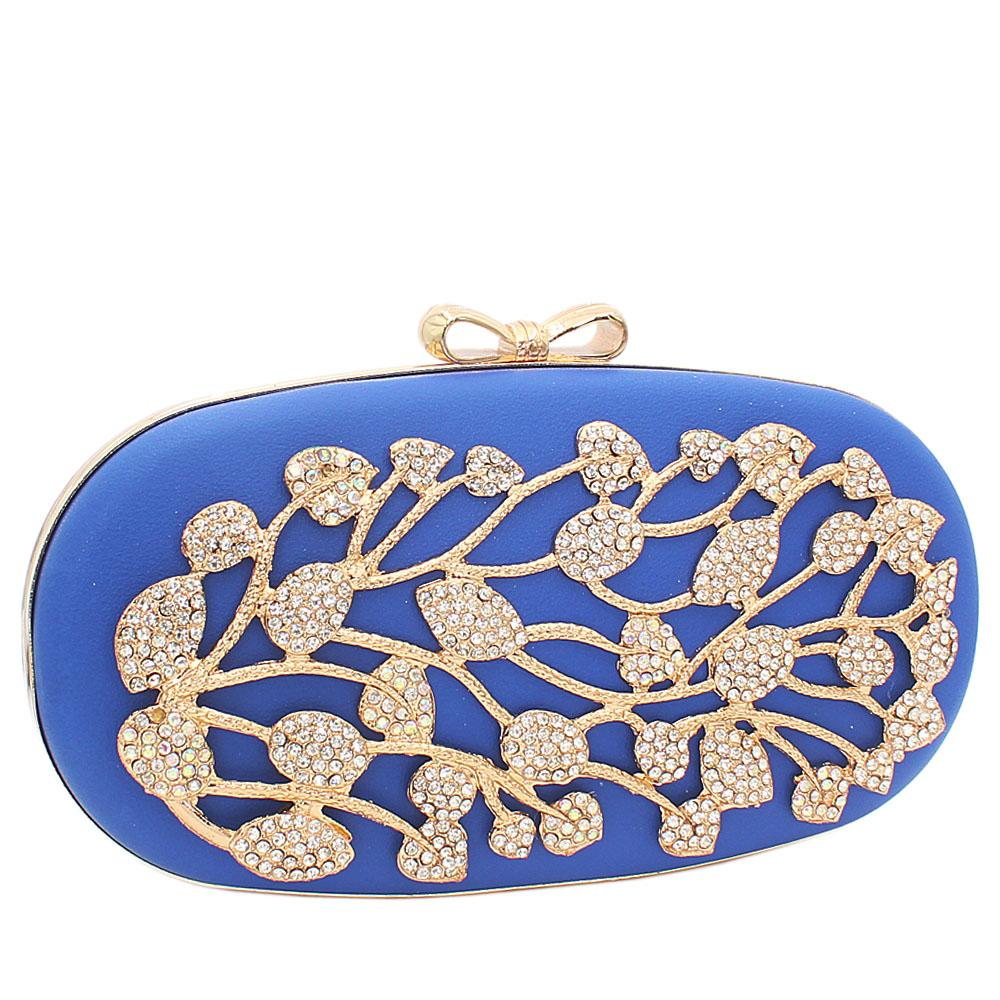 Blue Ariel Gold Studded Leather Clutch Purse