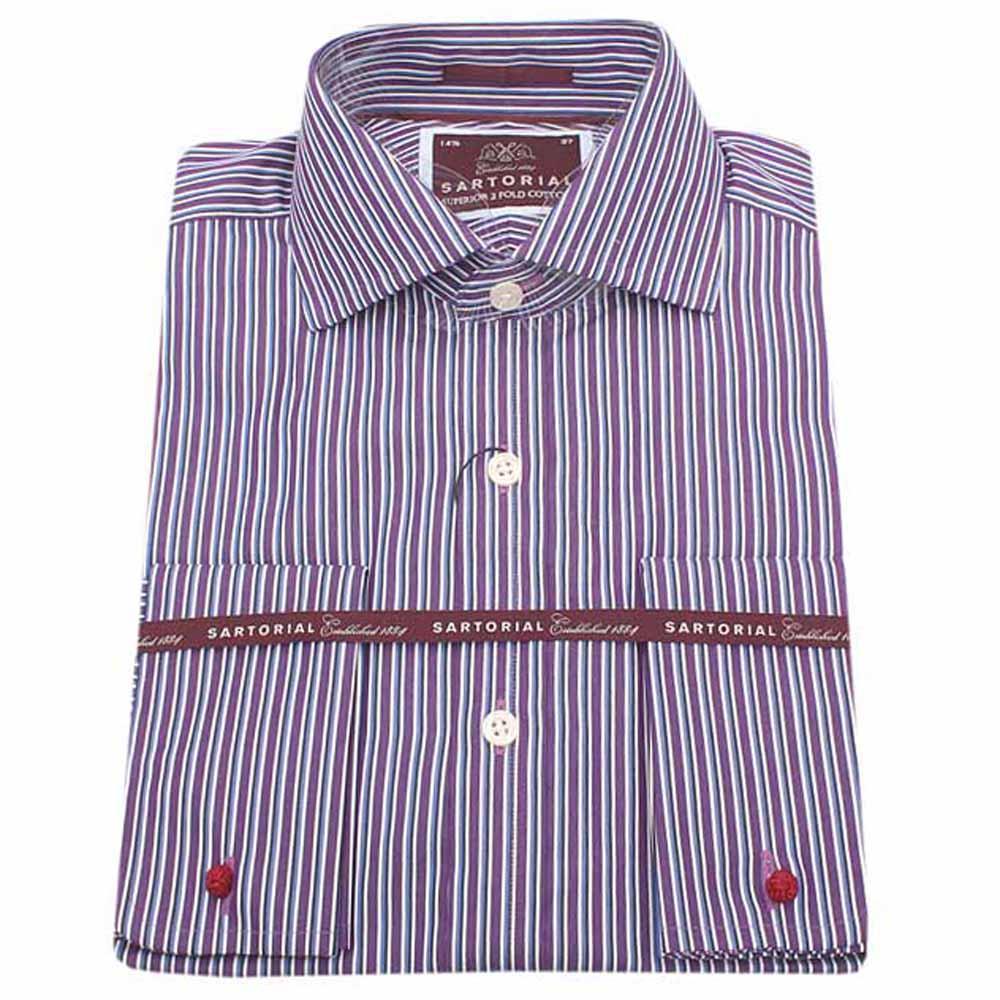 Sartorial Purple Striped Fit 2 Fold L/Sleeve Shirt Wt Cuff