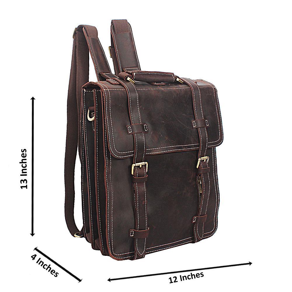 Coffee Cowhide Leather Urban Backpack