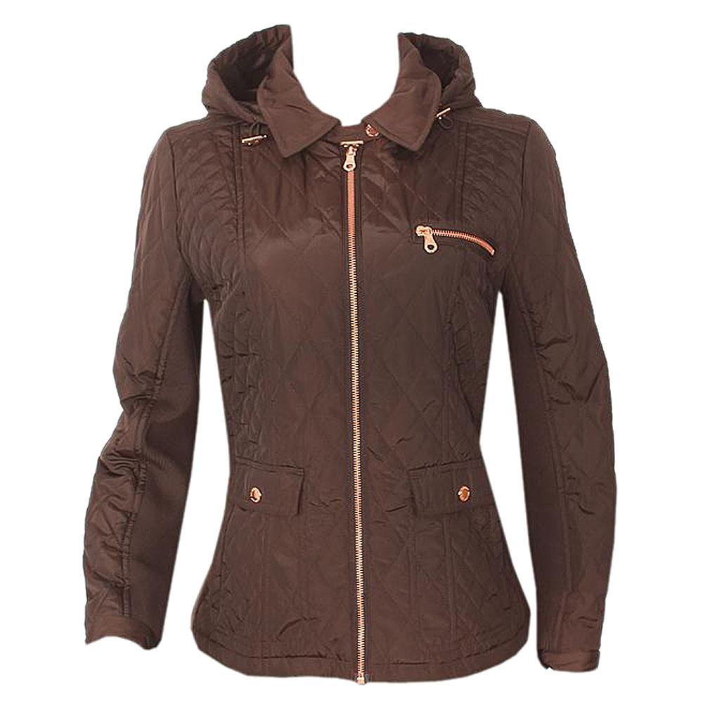 Per Una Coffee L/Sleeve Ladies Winter Jacket Wt Hood-Uk 12/L 24