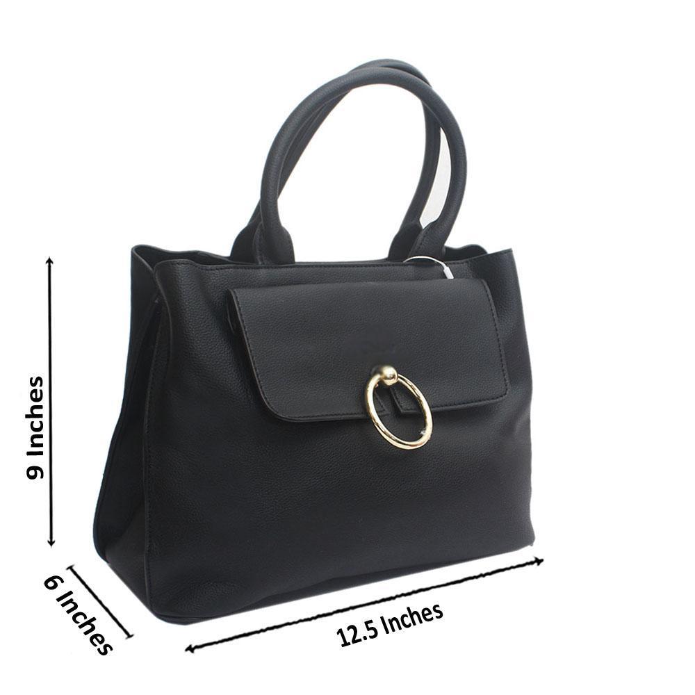 Black Florence Saffiano Leather Handbag
