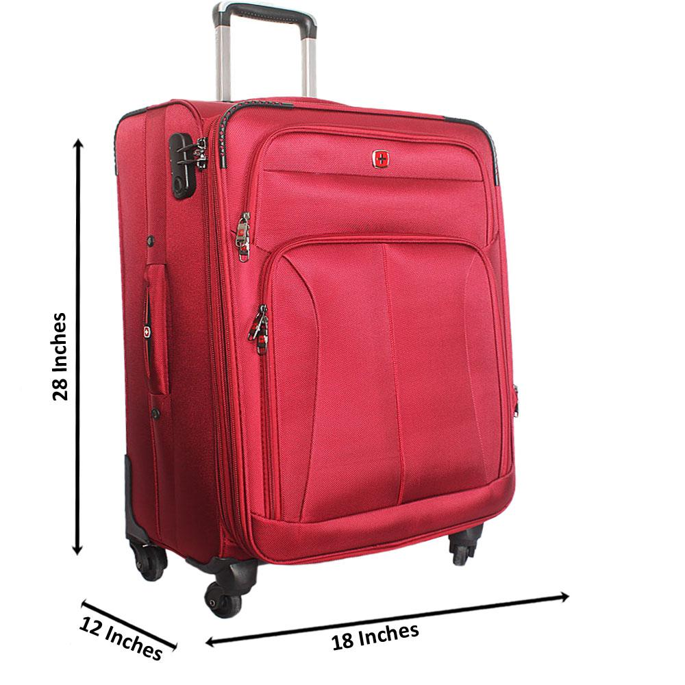 Saint Red 28 Inch Fabric 4 Wheels Spinners Large Suitcase