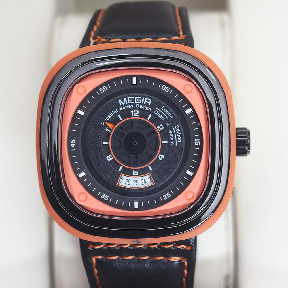 Megir Square Black Orange Leather Watch