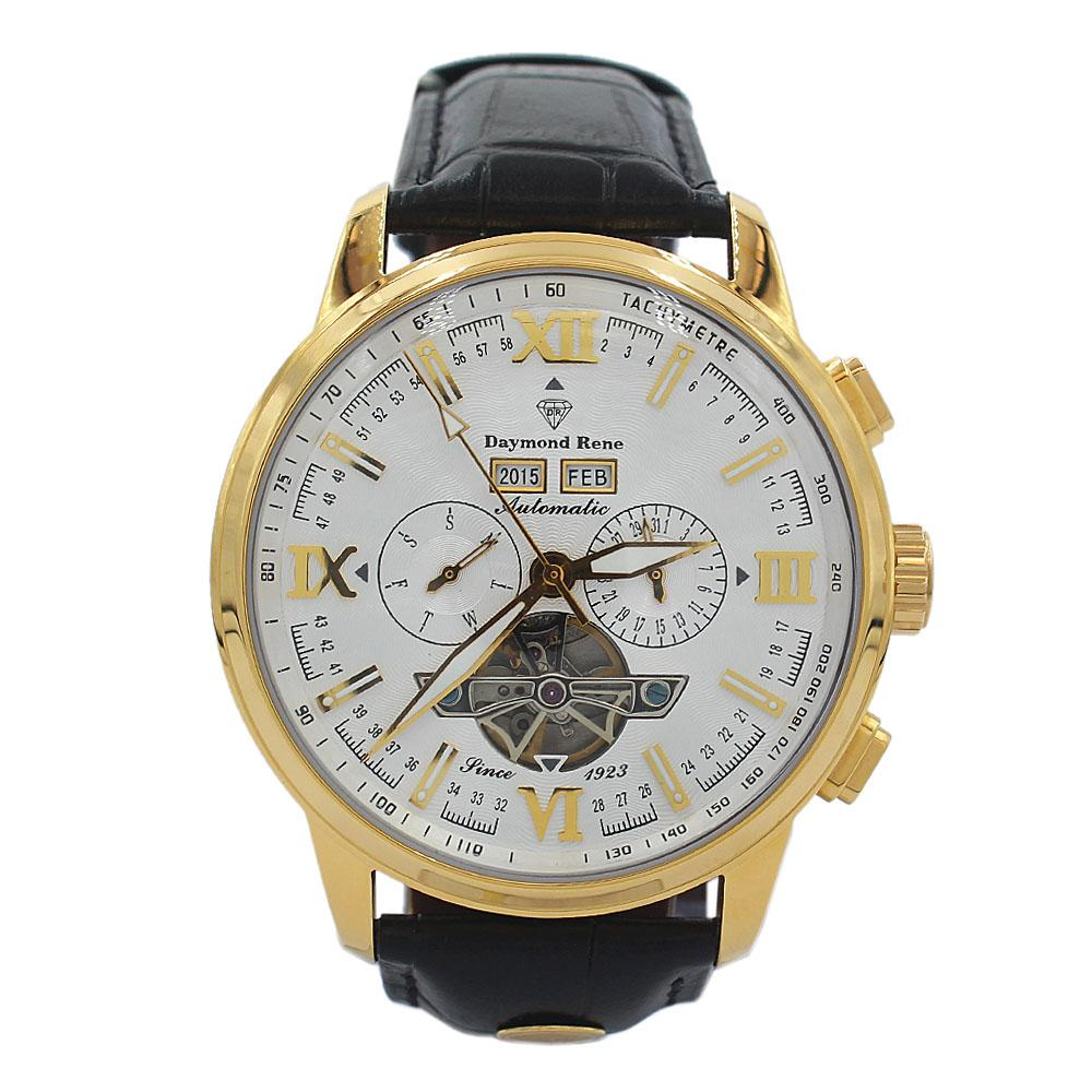 DR 3ATM Gold Black Leather Chronograph Automatic Watch