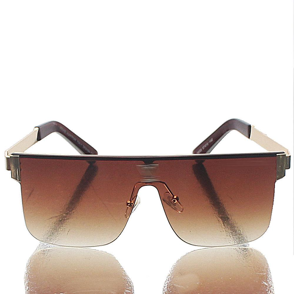 Gold Shield Brown Lens Sunglasses
