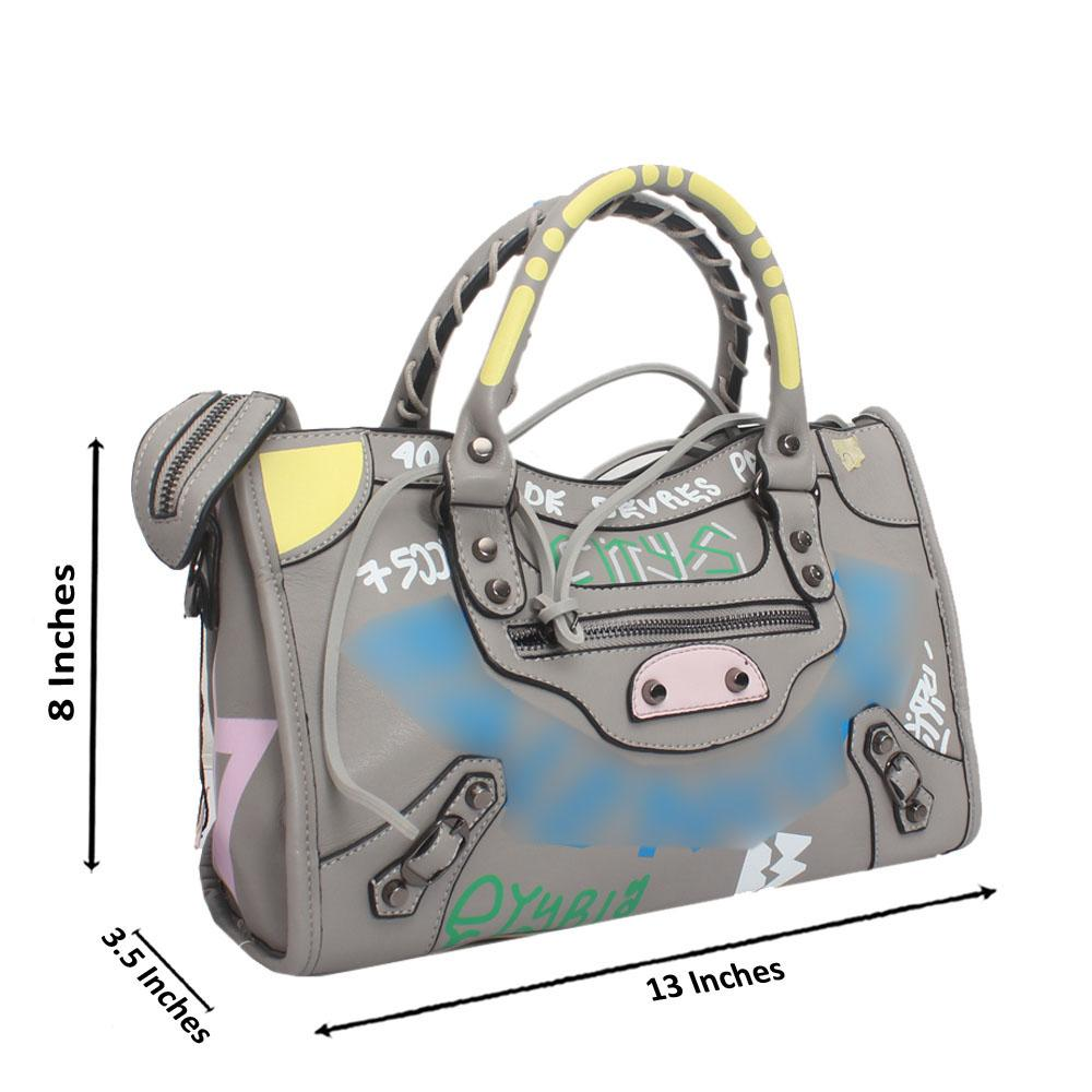 Grey Leather Small City Bae Handbag
