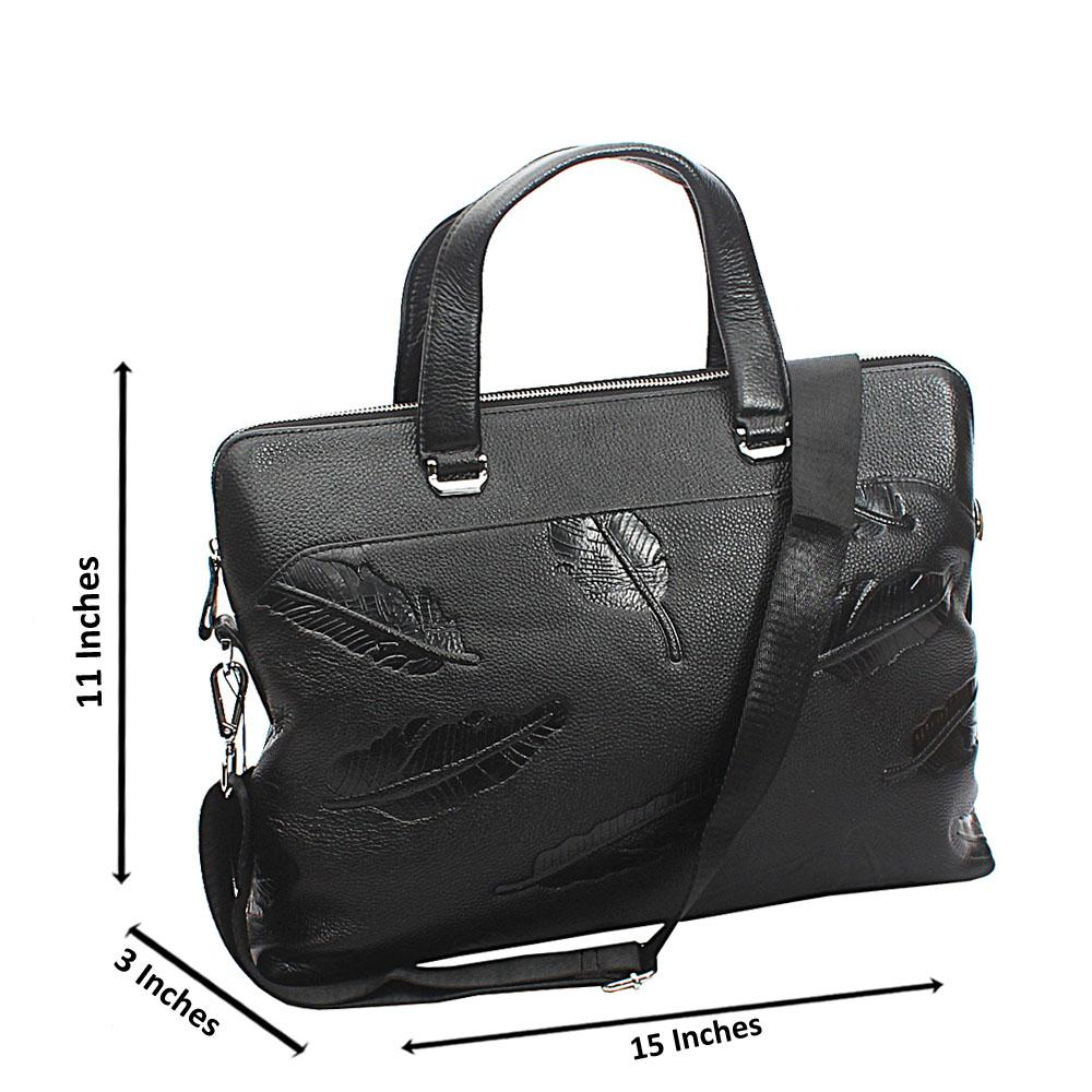 Black Bonnie Front Pocket Tuscany Leather Business Man Bag