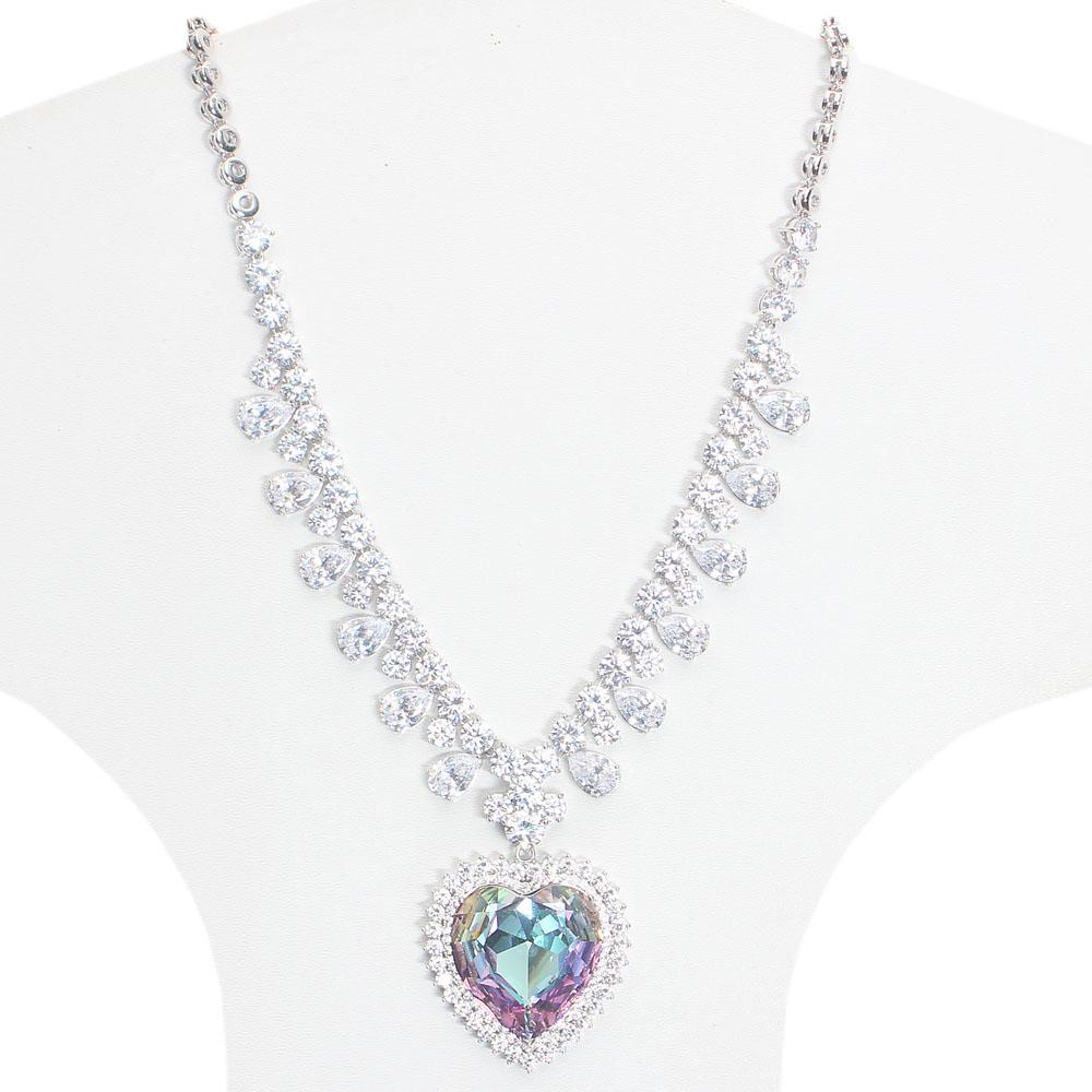 Studded Silver Necklace with Large Swarovski element Love Stone