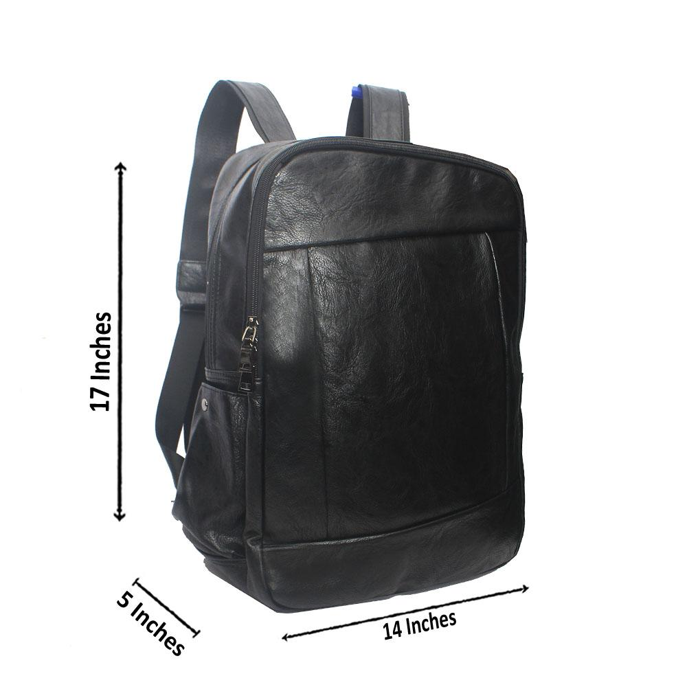 Casania Black Side Zip Leather Backpack