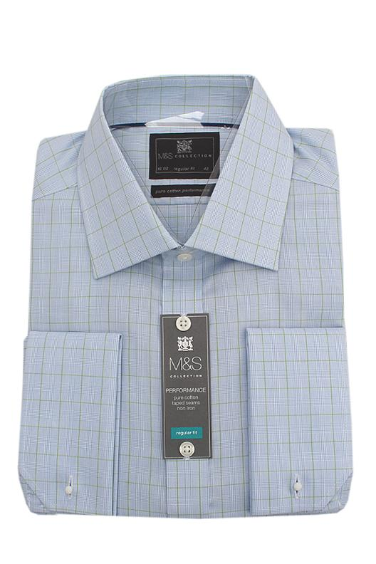M&S Collection Blue Green Check Pure Cotton Regular Fit L/Sleeve Men Shirt