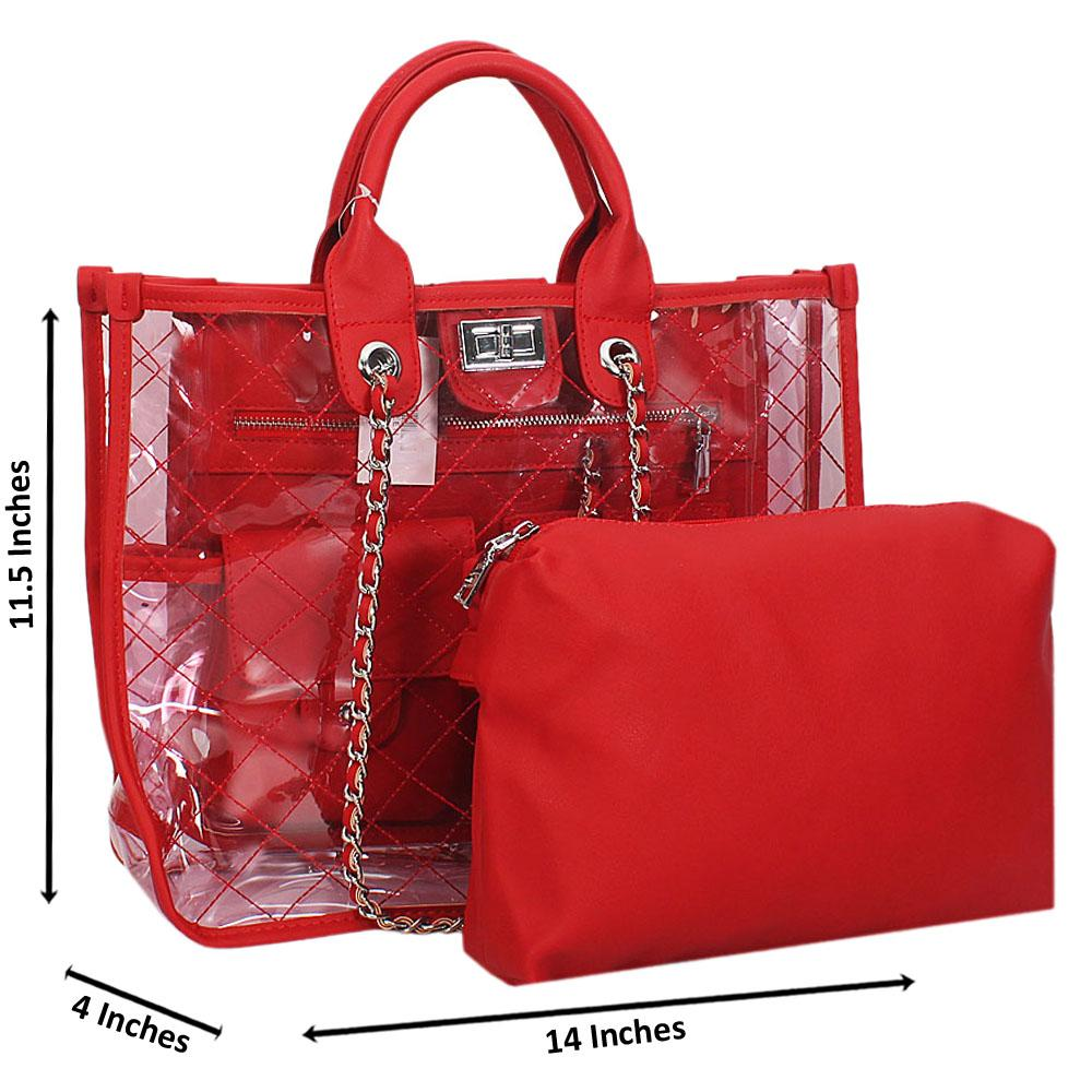 Red Morgan Transparent Rubber Leather Tote Handbag