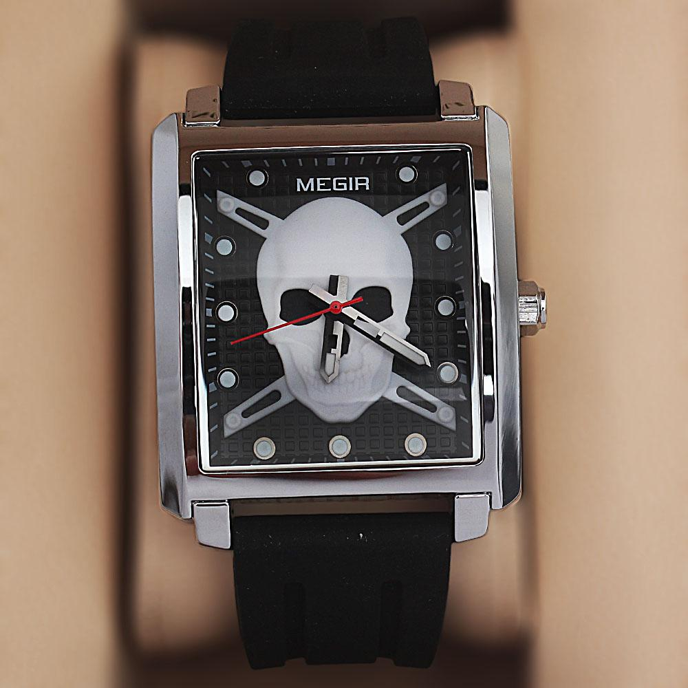MG Silver Black Rubber Strap Pirate Watch
