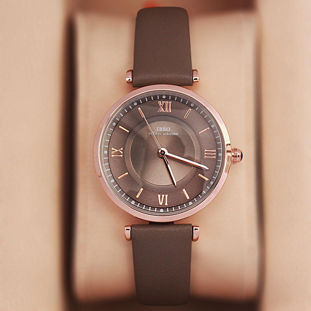 Vintage Gray Leather Slim Ladies Watch