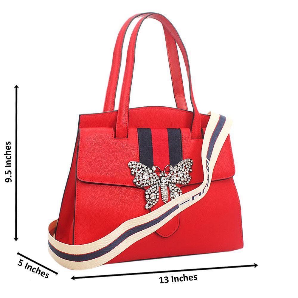 Red Butterfly Saffiano Leather Shoulder Handbag