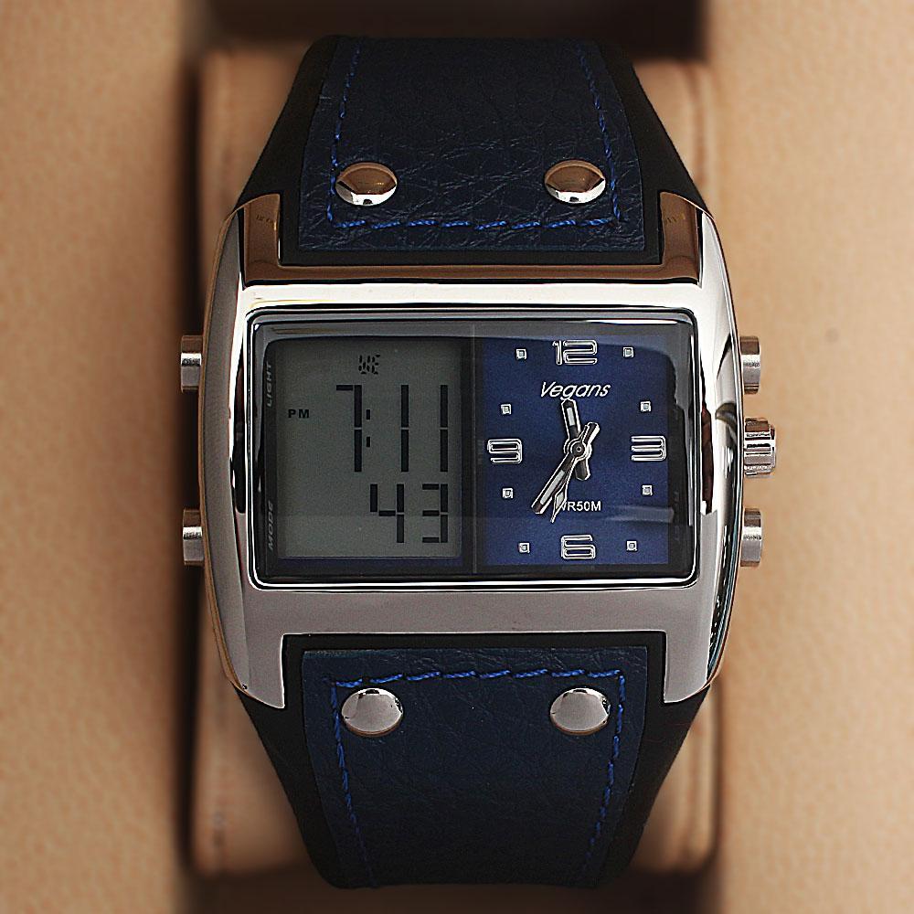 Vegans Blue Leather Water Resistant 50M Analog-Digital Watch