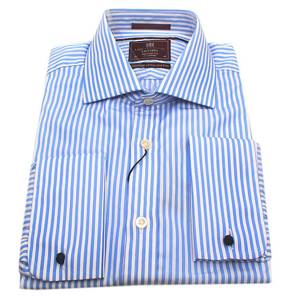 M&S Luxury Blue White Stripe Regular Fit Men Shirt-Sz 16
