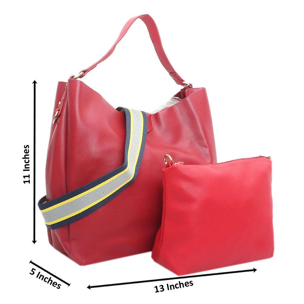 Red Leather Anne 2 Straps Shoulder Handbag