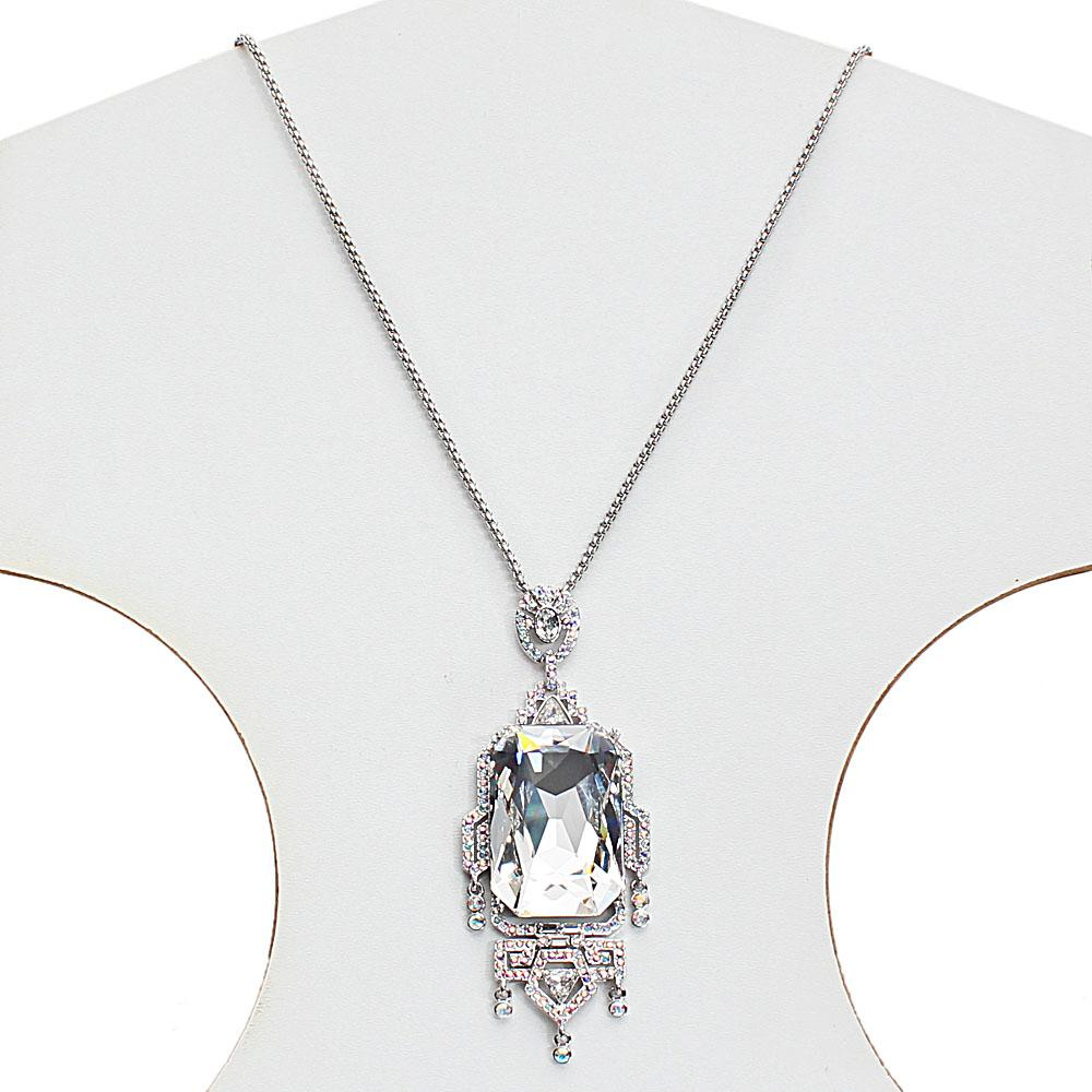 Long Stainless Steel Necklace with Swarovski Element Emperor Stone