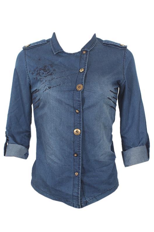 Queen Blue Ladies L/Sleeve Denim Shirt