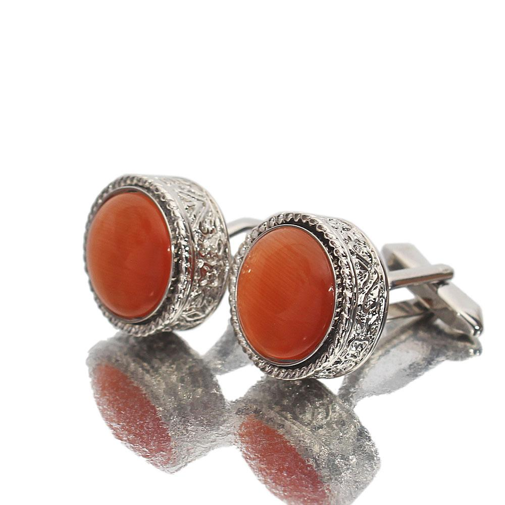 Montego Etched Peach Pearl Silver Stainless Steel Cufflinks