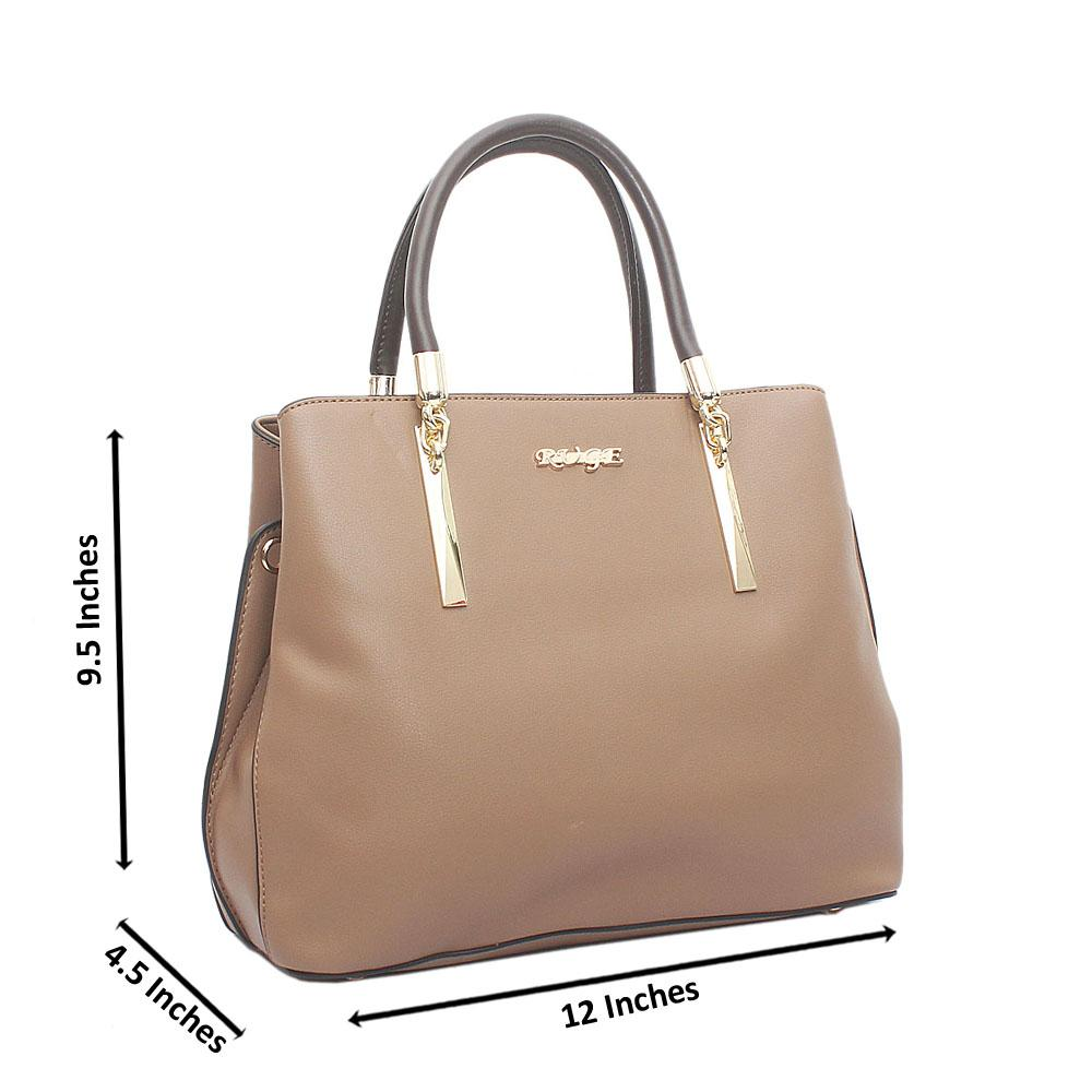 Khaki Ruge Medium Leather Handbag