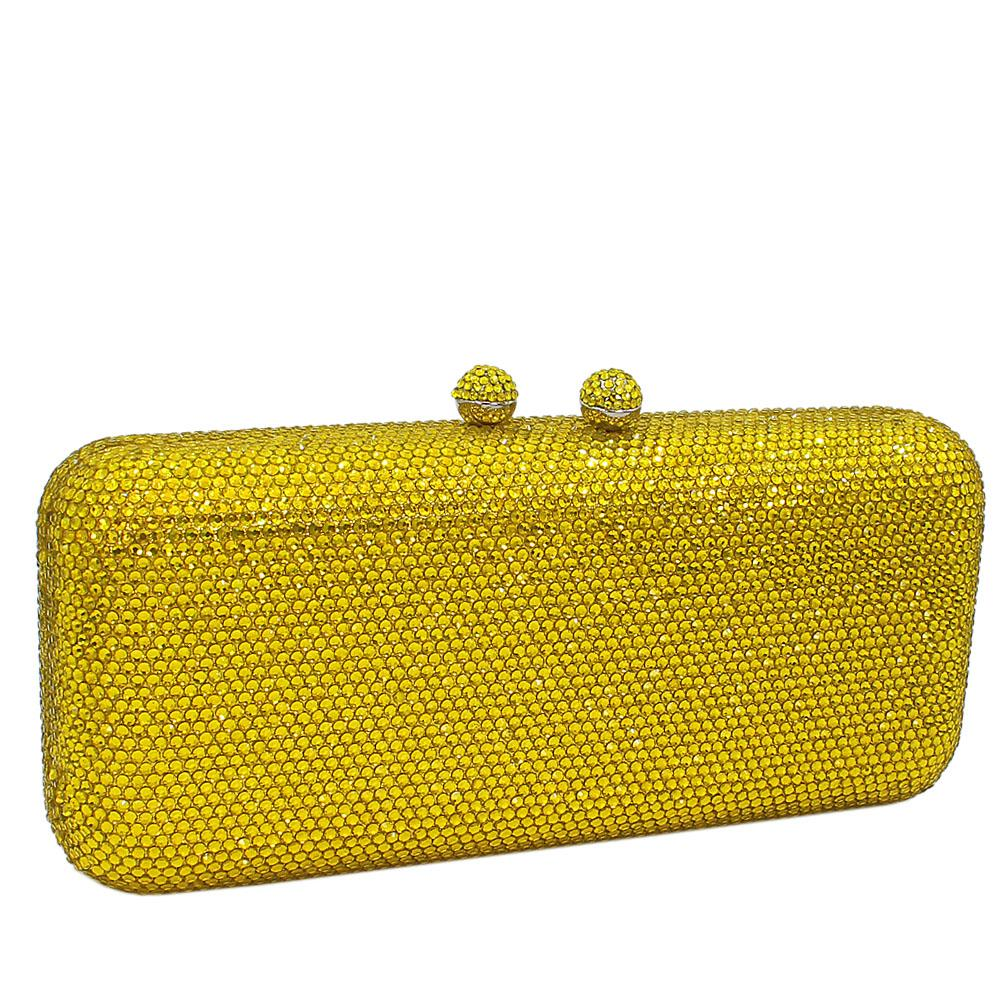 Yellow Crystals Studded Clutch Purse