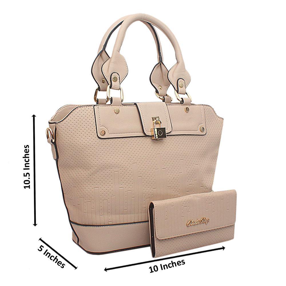 Beige Kador Bag Leather Handbag wt Purse