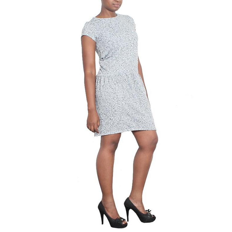 M&S Limited Grey Mix S/L Ladies Dress-Uk 10