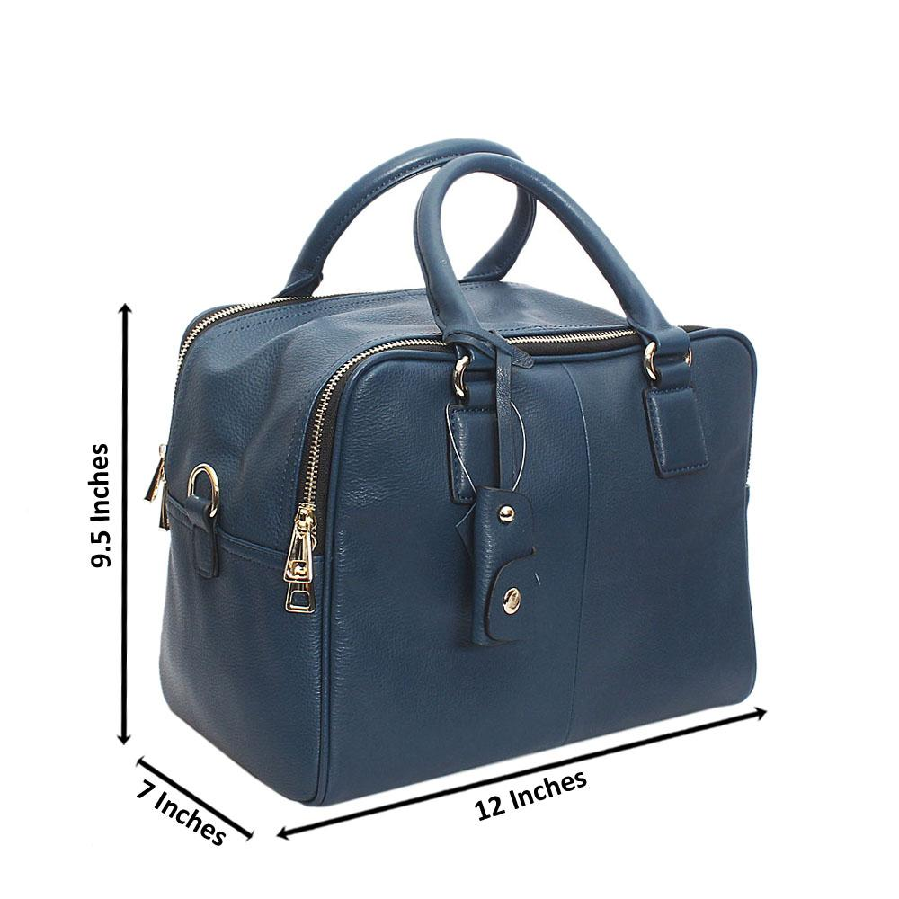 Lorena Navy Blue Double Zip Montana Leather Handbag
