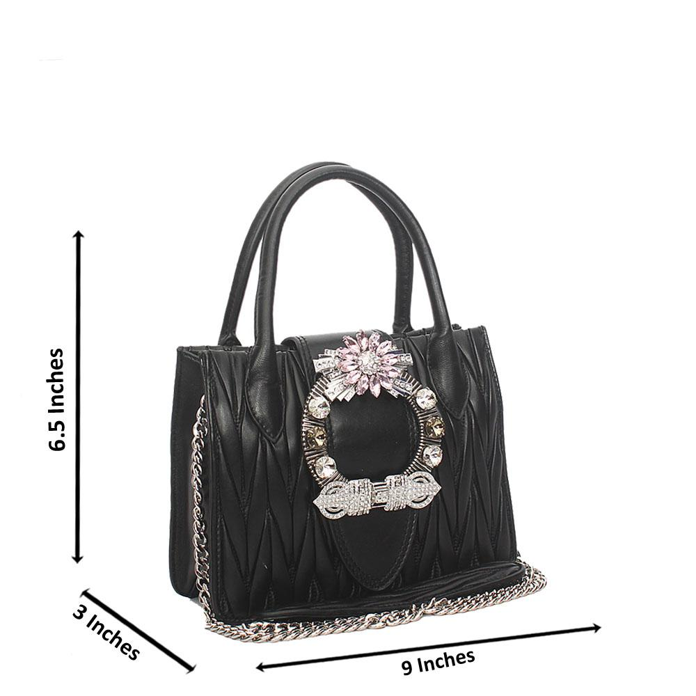 Black Crytals Mini Handbag