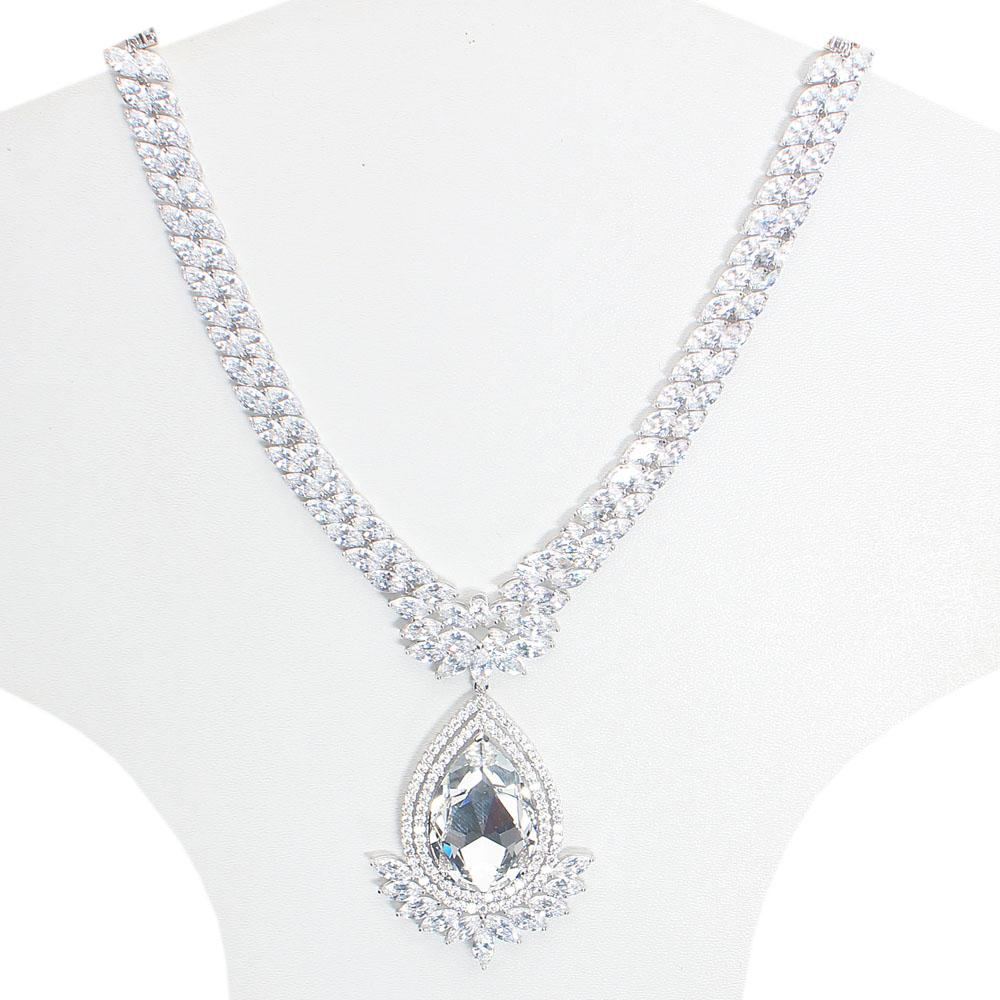 Angelic Studded Silver Necklace with Clear Pear Drop Swarovski Element Ston