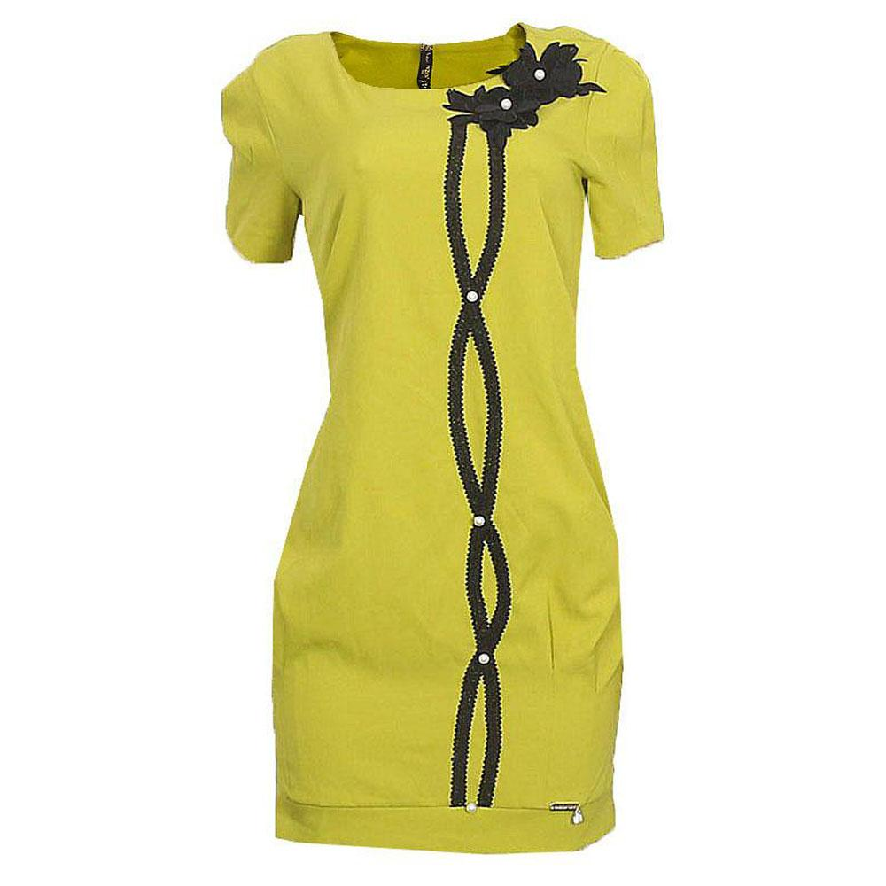 Passion Lemon Black Cotton Dress
