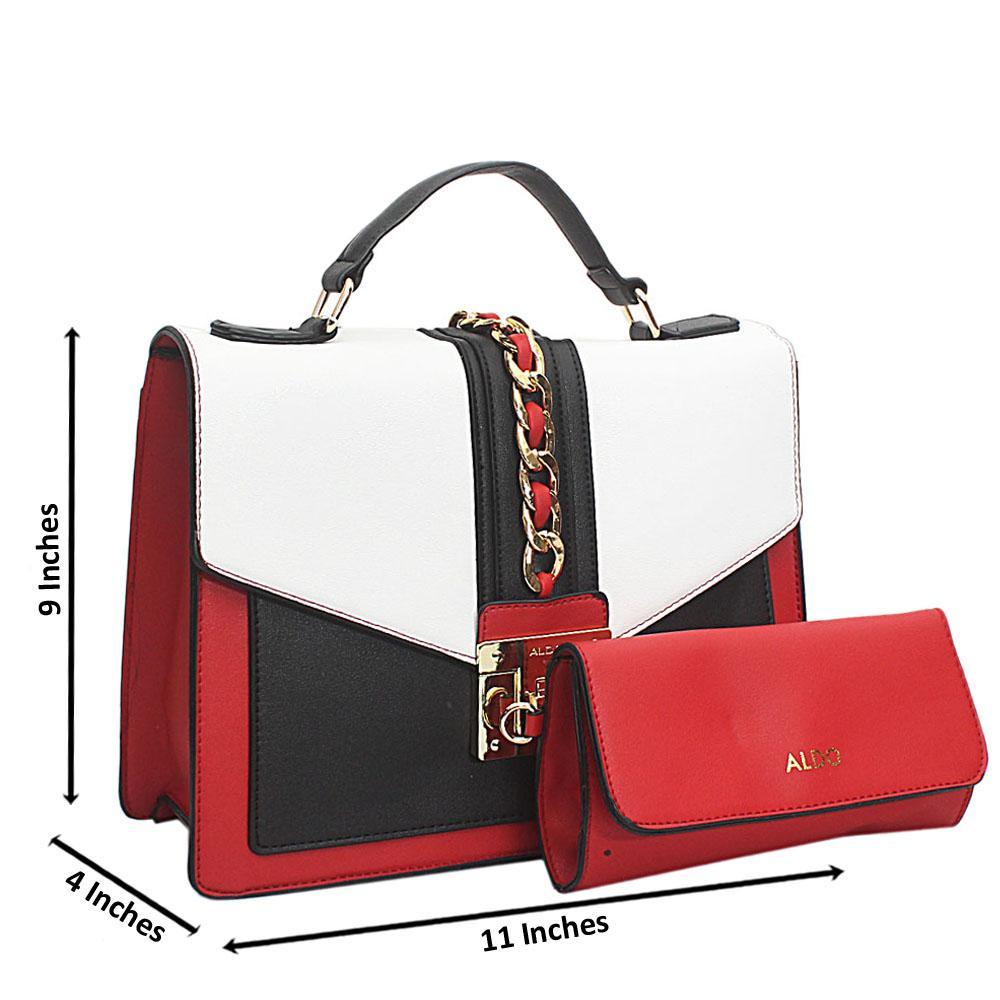 Red White Black Leather Medium Aldo Bag