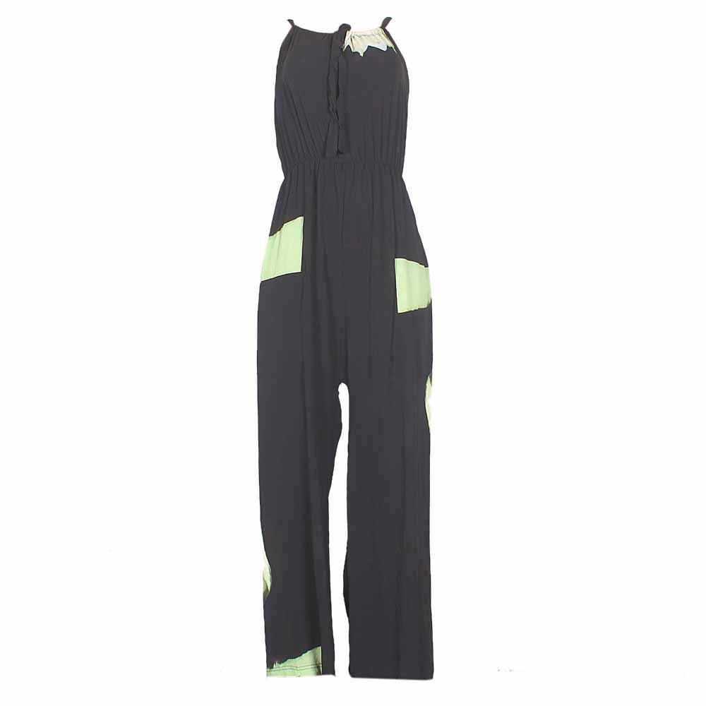 Black Green Chiffon Sleeveless Jumpsuit