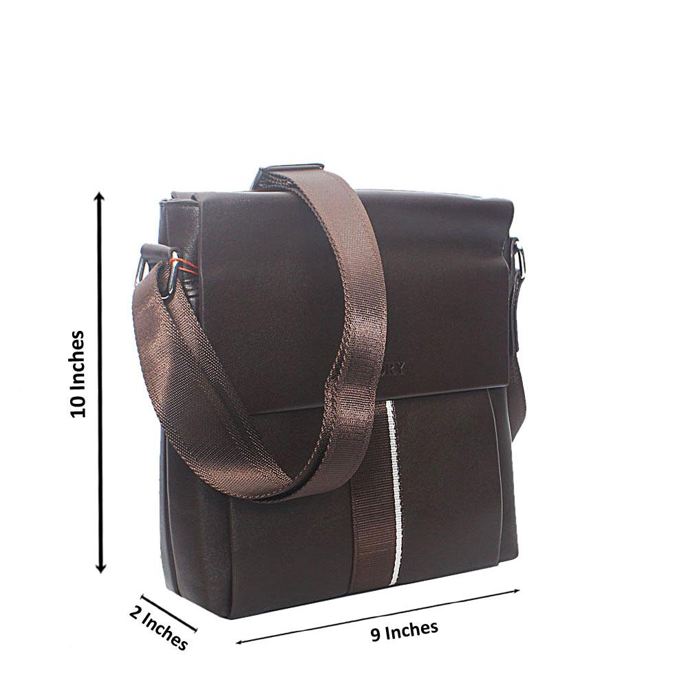 Coffee Double Flip Leather Side man  Bag