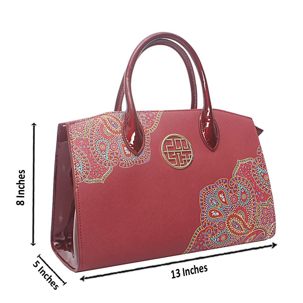 PMSix Wine Floral-Patterned Cow-Leather Tote Handbag