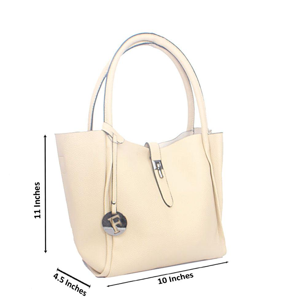 Cream Duck Clip Leather Shoulder Handbag