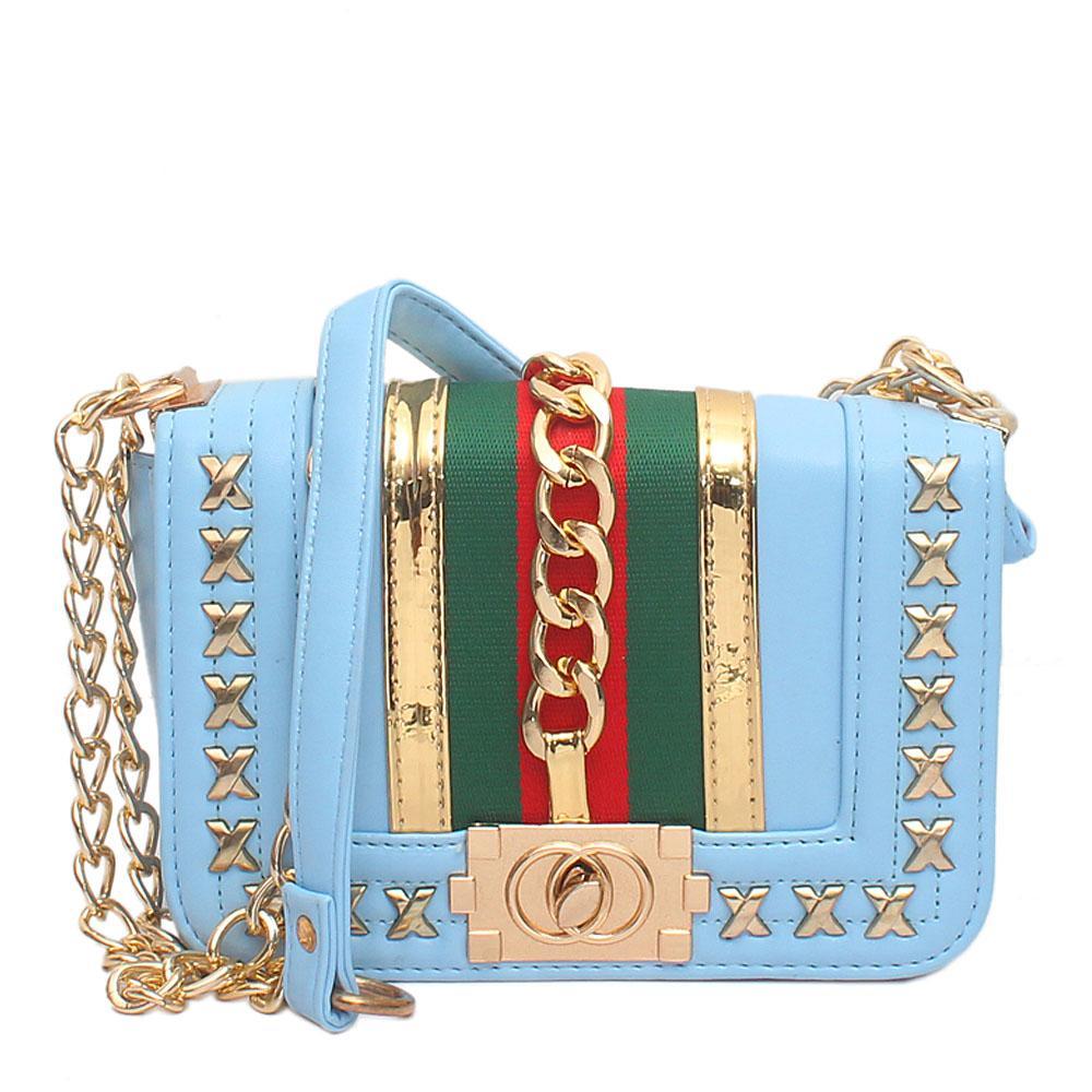 Pretty Sky Blue Leather Mini Bag