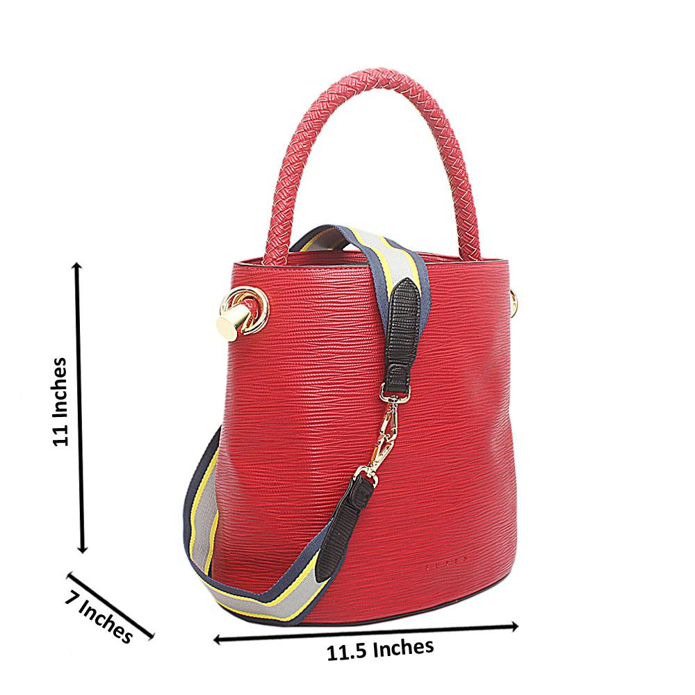 Susen Red Leather V Classic  Bucket Bag