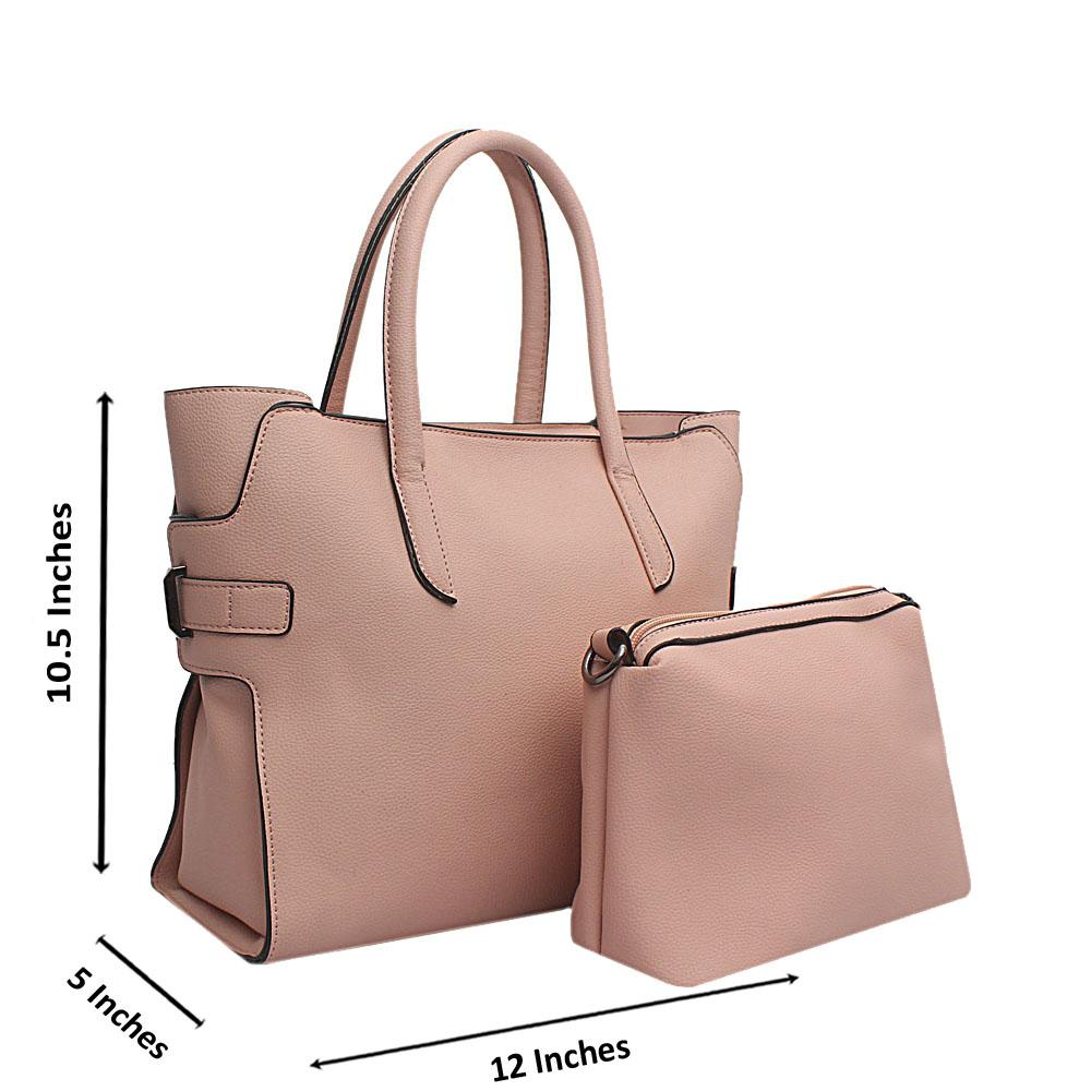 London Style Pink Leather Tote Bag Wt Purse