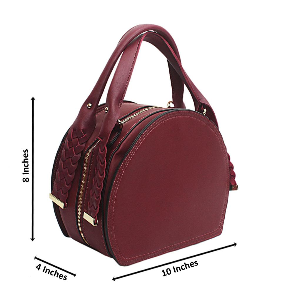 Susen Wine Woven Handle Leather Handbag
