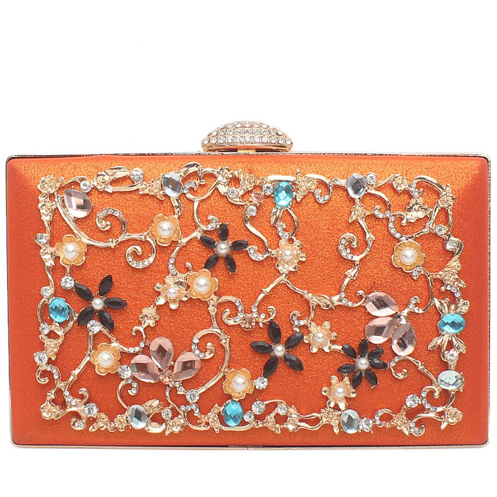 Orange Glitz Studded Flat Clutch