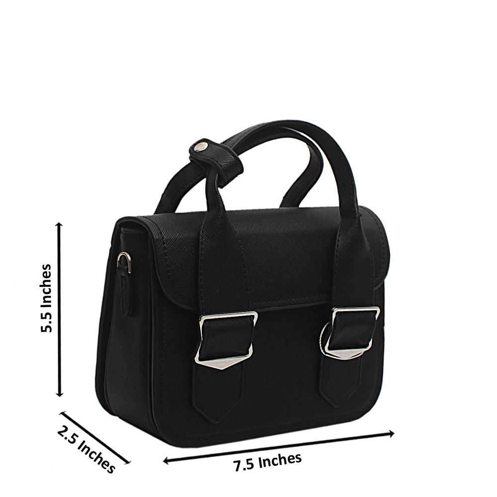 London Style Black Leather Mini Handbag