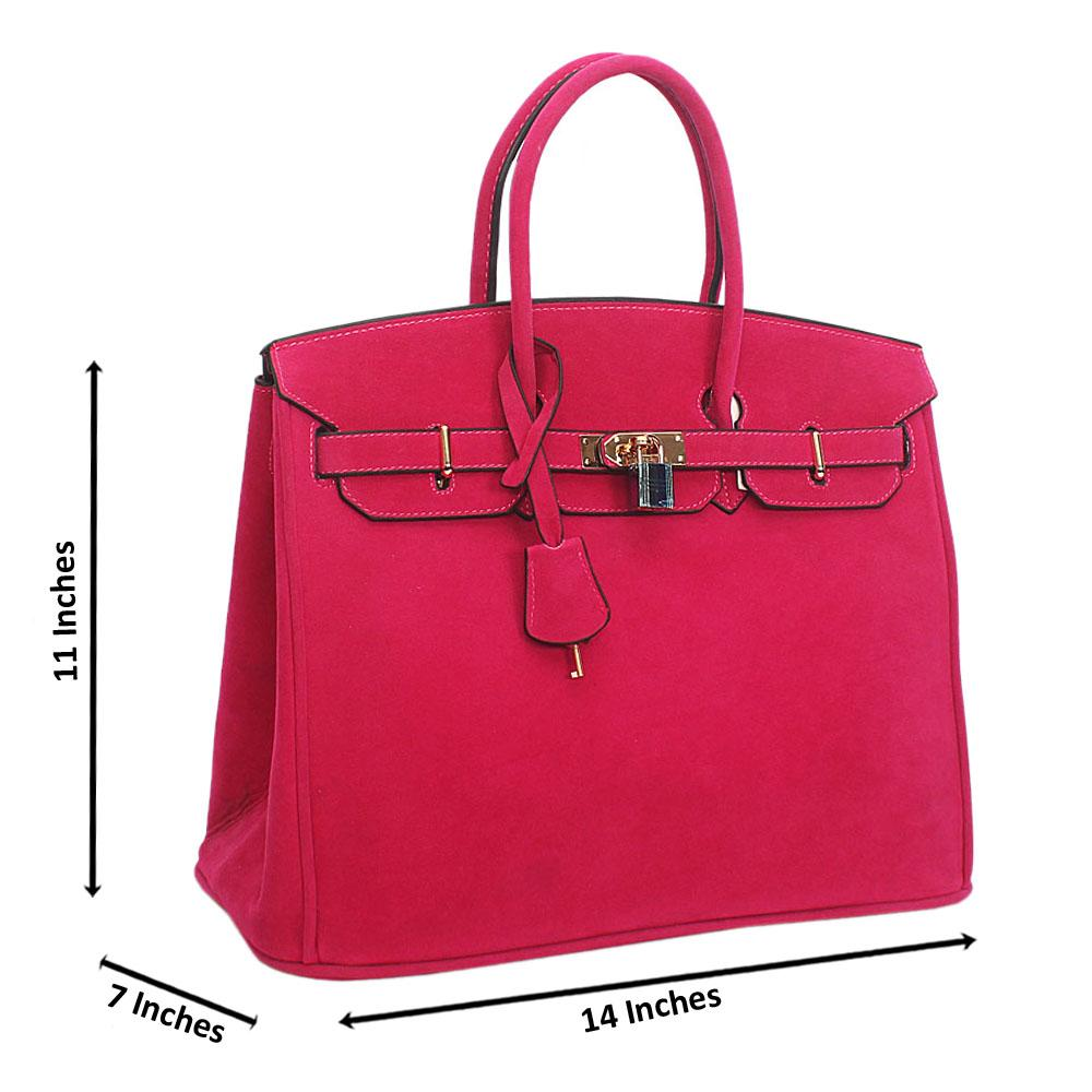 Pink Suede Leather Birkin Tote Handbag